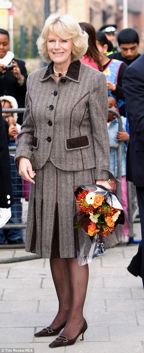 Not so chic: Camilla, pictured in 2005 (left) and 2008 (right), used to be famous for her love of an unflattering tweed suit