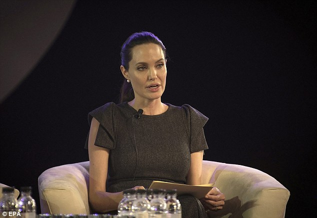 Jolie said: 'There is a global epidemic of violence against women – both within conflict zones and within societies at peace – and it is still treated as a lesser crime and lower priority'
