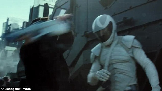 The fight: One of the rebels takes on a Peacekeeper in the Capitol