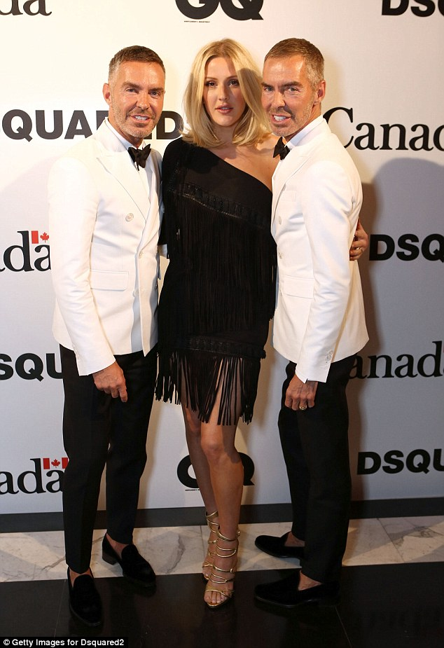 Stylish friends: Ellie posed with party hosts Dan Caten and Dean Caten, founders and owners of Dsquared2