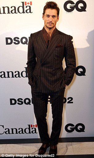 The male model was sleek in a pinstriped suit