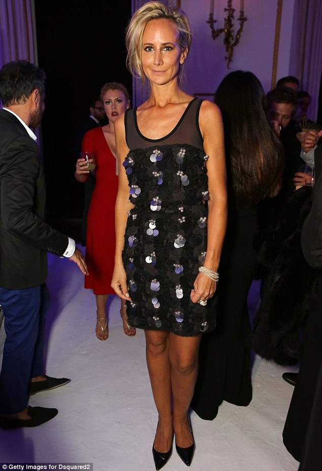 Sparkling: Lady Victoria Hervey showed off a deep tan in a black embellished dress and black stilettos