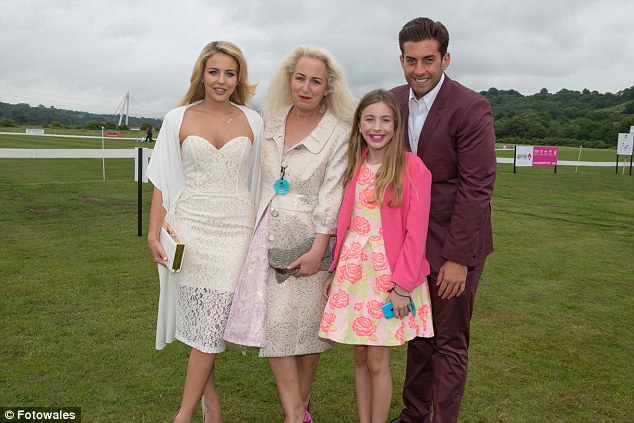 Happy families: Lydia and Arg were joined by her mother Debbie and Lydia's younger sister Roma at the event