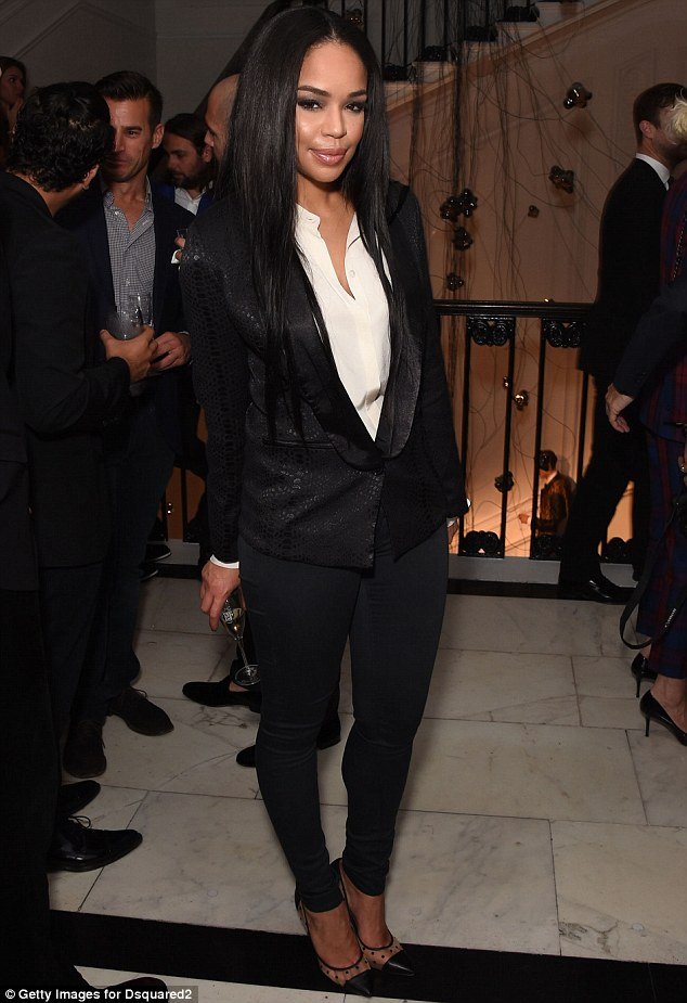 Sleek: The 33-year-old enjoyed a glass of champagne at the Dsquared party on Saturday night in London