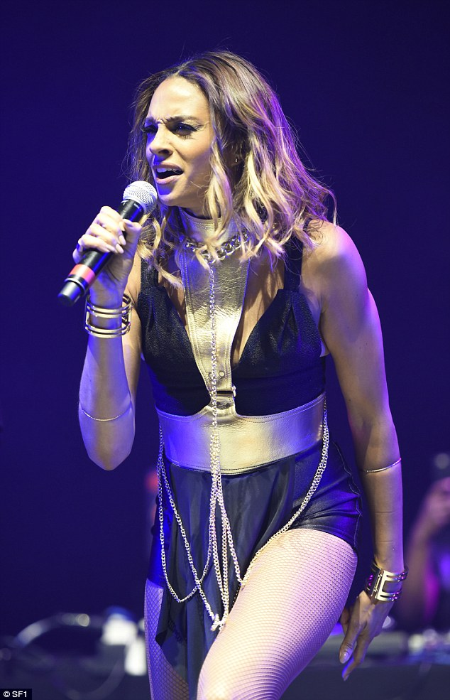 She's back: Alesha Dixon took to the stage in Leeds on Friday night supporting Pharrell at First Direct Arena