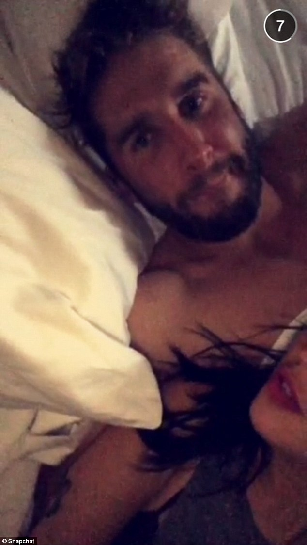 Snap scandal: Kaitlyn Bristowe, 29, posted this Snapchat of (what appears to be) her and Bachelorette contestant Shawn Boothe in bed together