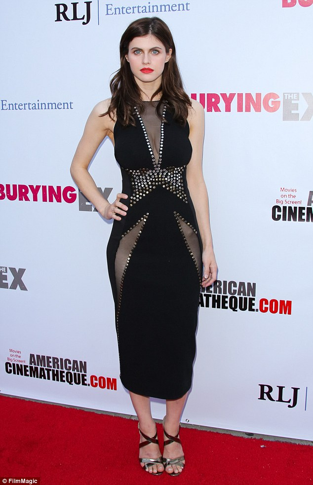 Dressed to kill! Alexandra Daddario flashed the flesh in a daring black dress at a screening for Bury The Ex at The Egyptian Theatre in Hollywood on Thursday