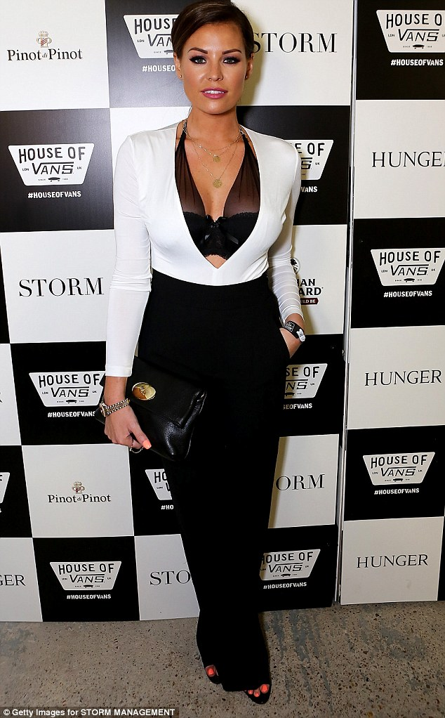 Baring it all: Jessica Wright showed off her ample cleavage in a revealing white top and sheer lace bra