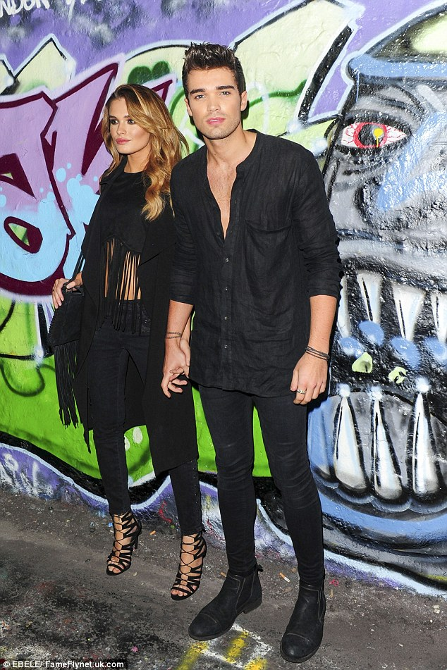 Just the two of us: Union J heartthrob Josh Cuthbert sported an all-black ensemble as did his girlfriend Chloe Lloyd