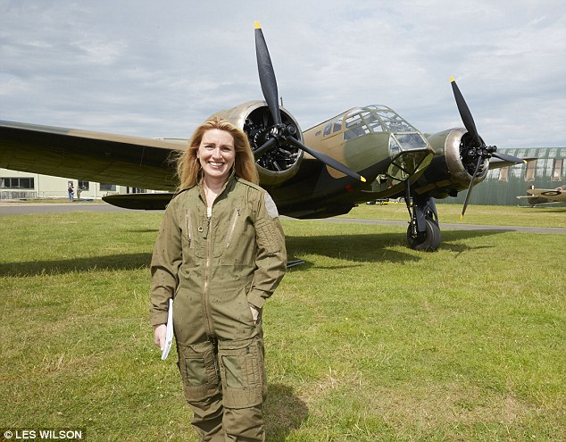 Mail on Sunday reporter Sarah Oliver, pictured, got the chance to fly on the historic Blenheim bomber