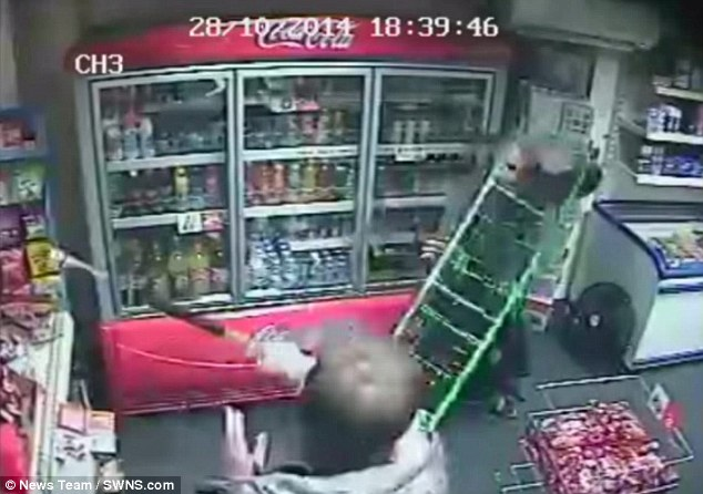 One of the gang, who has not yet been caught, attacked the shop keeper with the rod at Josie's' off license in Rugby, Warwickshire