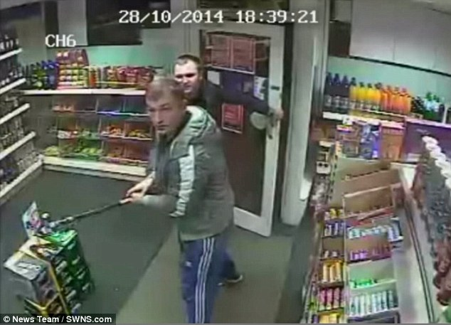 Warwickshire Police have released the CCTV footage in a bid to identify the other two thugs involved in the violent outburst