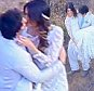 Please contact X17 before any use of these exclusive photos - x17@x17agency.com   Ian Somerhalder and Nikki Reed got married in Malibu today where the bride wore a beautiful backless lace dress and the groom wore a white suit. They pose for photos in a discreet location and Ian carries his new wife down the hills after photos looking very much in love  April 26, 2015 X17online.com