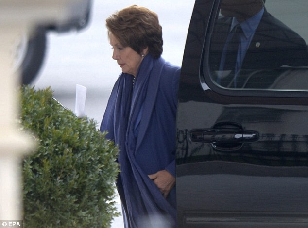 House Minority Leader Nancy Pelosi arrives. No breakthrough is expected to come out of the talks