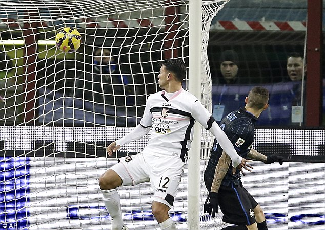 Inter Milan's Mauro Icardi finds the back of the net against Palermo at the San Siro stadium