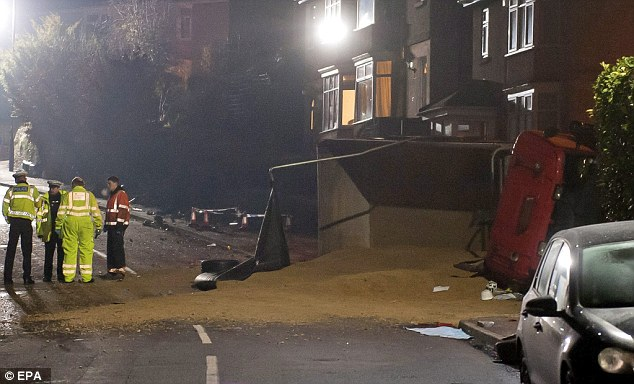 The scene last night. The lorry ended up on its side after striking several cars and a number of pedestrians as it travelled down Lansdown Lanejust after 4pm on Monday