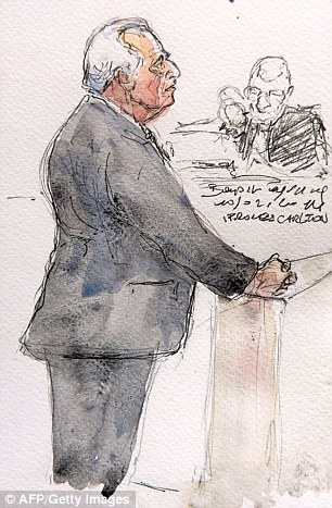 A court sketch showing Strauss Kahn giving evidence during his trial in Lille