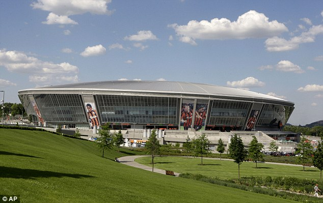 Big match: The Donbass Arena stadium, in Donetsk, Ukraine where England will play during the Euro 2012 championship