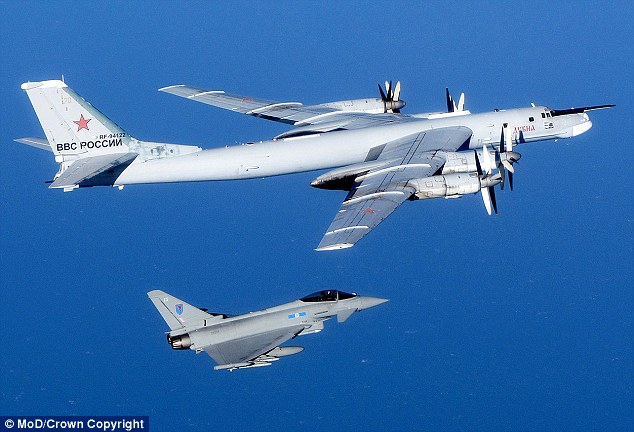 Test:A Russian Bear is escorted by an RAF jet during an alert in September last year (file picture). A similar incident happened less than a fortnight ago.What are we doing about this, asks Dominic Lawson