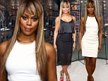 """NEW YORK, NY - JUNE 15:  Laverne Cox visits """"Extra"""" at their New York studios at H&M in Times Square on June 15, 2015 in New York City.  (Photo by D Dipasupil/Getty Images for Extra)"""