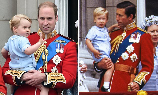 Snap! How Prince George appeared in the very same romper suit as his father wore in