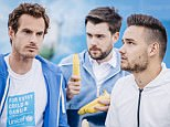 **EMBARGO**   NOT FOR PUBLICATION BEFORE 00.01hrs - TUESDAY 16th JUNE 2015  Mandatory Credit: Photo by Tom Dymond/REX Shutterstock (4848385e)  Unicef UK Supporter, Andy Murray, shows his teammates Jack Whitehall and Liam Payne how to eat a banana like a professional tennis player in a comedy sketch for Unicef UK  Unicef UK's Children in Danger Summer Disease Appeal sketch, The Queen's Club, London, Britain - 15 Jun 2015  Andy Murray, Liam Payne, Jack Whitehall and Clare Balding came together to film a short sketch for Unicef UK's Children in Danger Summer Disease Appeal, which is raising awareness and vital funds for children in danger of disease