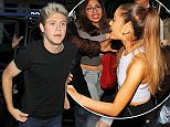 138717, EXCLUSIVE: Ariana Grande and One Direction singer Niall Horan arrive for a meal at Botafumeiro restaurant in Barcelona. The couple have denied rumors that they are romantically linked and arrived at the eatery separately to celebrate the birthday of Niall's friend Alfredo. Barcelona, Spain - Monday June 15, 2015. SPAIN OUT Photograph: © SolarPix, PacificCoastNews. Los Angeles Office: +1 310.822.0419 sales@pacificcoastnews.com FEE MUST BE AGREED PRIOR TO USAGE