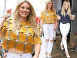 Picture Shows: Hilary Duff  June 15, 2015    Hilary Duff is all smiles while stepping out in New York City. The actress and singer has been busy in NYC today, making appearances on various talk shows.    Non Exclusive  UK RIGHTS ONLY    Pictures by : FameFlynet UK © 2015  Tel : +44 (0)20 3551 5049  Email : info@fameflynet.uk.com