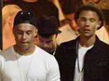 16.JUNE.2015 - LOS ANGELES - USA *** EXCLUSIVE ALL ROUND PICTURES *** ARSENAL AND ENGLAND FOOTBALL STARS ALEX OXLADE-CHAMBERLAIN AND KIERAN GIBBS ENJOY A NIGHT OUT ON THE TOWN IN LOS ANGELES AT STK RESTUARANT WITH A LARGE GROUP OF FRIENDS AS THE PAIR ENJOY THEIR SUMMER BREAK. BYLINE MUST READ : XPOSUREPHOTOS.COM ***UK CLIENTS - PICTURES CONTAINING CHILDREN PLEASE PIXELATE FACE PRIOR TO PUBLICATION *** **UK CLIENTS MUST CALL PRIOR TO TV OR ONLINE USAGE PLEASE TELEPHONE  44 208 344 2007**