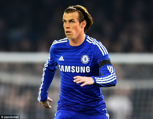 Sportsmail's mock-up of how the Welsh forward would look in a Chelsea shirt should he sign for the Blues