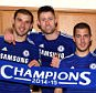 Chelsea FC via Press Association Images MINIMUM FEE 40GBP PER IMAGE - CONTACT PRESS ASSOCIATION IMAGES FOR FURTHER INFORMATION. (left to right) Chelsea's Branislav Ivanovic, Gary Cahill, Eden Hazard, Cesar Azpilicueta and John Terry celebrate winning the title in the dressing room after the match
