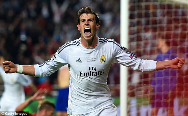 The Welshman celebrates scoring a crucial extra-time goal in the 2014 Champions League final