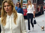 Jessica Hart walks her dog in the East Village, NYC.....Pictured: Jessica Hart..Ref: SPL1054829  160615  ..Picture by: Splash News....Splash News and Pictures..Los Angeles: 310-821-2666..New York: 212-619-2666..London: 870-934-2666..photodesk@splashnews.com..