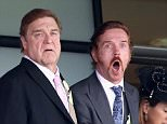 ASCOT, ENGLAND - JUNE 16:  John Goodman and Damien Lewis cheer on the horses on day 1 of Royal Ascot at Ascot Racecourse on June 16, 2015 in Ascot, England.  (Photo by Chris Jackson/Getty Images)