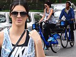 NEW YORK, NY - JUNE 16: Model Kendall Jenner and Jaden Smith are  seen biking on a City Bike in Soho on June 16, 2015 in New York City.  (Photo by Raymond Hall/GC Images)