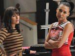 "GLEE: Rachel (Lea Michele, L) and Santana (Naya Rivera, R) discuss a plan to help Kurt in the ""Furt"" episode of GLEE airing Tuesday, Nov. 23 (8:00-9:00 PM ET/PT) on FOX. (Photo by FOX via Getty Images)"