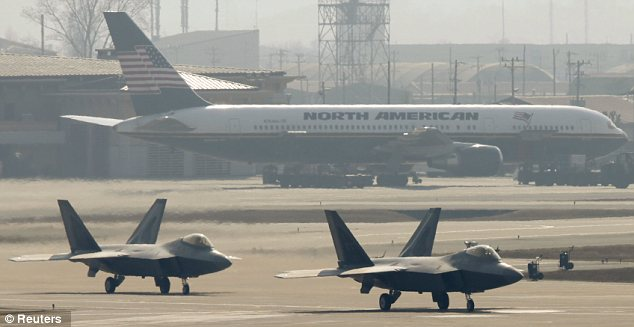Base: American stealth fighters at the Air Force facility in Osan, south of Seoul
