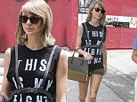 West Hollywood, CA - Perennial best friends Taylor Swift and Selena Gomez were spotted grabbing lunch together in West Hollywood on Tuesday afternoon, showing off their stylish duds. Taylor rocked a Rachel Platten graphic muscle tank, olive green short shorts, ankle booties, a harness and a Louis Vuitton tote, while Selena looked a bit more casual in a tied up denim shirt, leggings and black slip on sneakers.\nAKM-GSI       June 16, 2015\nTo License These Photos, Please Contact :\nSteve Ginsburg\n(310) 505-8447\n(323) 423-9397\nsteve@akmgsi.com\nsales@akmgsi.com\nor\nMaria Buda\n(917) 242-1505\nmbuda@akmgsi.com\nginsburgspalyinc@gmail.com
