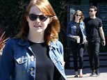 Malibu, CA - Emma Stone gets together with a male friend today as the pair do lunch at Bui Sushi.  Upon exiting Emma was quick to point a few photographers to her friend across the street.\n  \n AKM-GSI        June  18, 2015\nTo License These Photos, Please Contact :\nSteve Ginsburg\n(310) 505-8447\n(323) 423-9397\nsteve@akmgsi.com\nsales@akmgsi.com\nor\nMaria Buda\n(917) 242-1505\nmbuda@akmgsi.com\nginsburgspalyinc@gmail.com