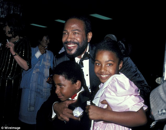 Father figure: Marvin Gaye and children Frankie and Nona, his two children by Jan, his second wife