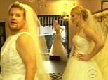 19 June 2015 - Los Angeles - USA  **** STRICTLY NOT AVAILABLE FOR USA ***  Iggy Azalea and James Corden try on wedding dresses on The Late Late Show. The newly engaged rapper joined Corden for a segment of the show called Carpool Karakoe.  The pair drove around Los Angeles singing along to some of Iggy's hits while Corden also quizzed her about her upcoming wedding to Los Angeles Lakers player Nick Young. She revealed that she will have four bridesmaids - and one of them will be Demi Lovato. She also agreed that if Corden got himself ordained he could officiate the ceremony. Then he spotted a wedidng dress store and the pair headed inside where they both tried on some gorgeous gowns.  And they kept their ivory wedding gowns and veils on as they headed back to the car for some more carpool karaoke.   XPOSURE PHOTOS DOES NOT CLAIM ANY COPYRIGHT OR LICENSE IN THE ATTACHED MATERIAL. ANY DOWNLOADING FEES CHARGED BY XPOSURE ARE FOR XPOSURE'S SERVICES ONLY, AND DO NOT, NOR ARE THEY INTENDED