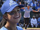 KANSAS CITY, MO - JUNE 19: Actress and singer Selena Gomez runs to first after getting a hit during the Big Slick Celebrity Softball Game at Kauffman Stadium on June 19, 2015 in Kansas City, Missouri. Big Slick celebrity weekend raises money for Children's Mercy Cancer Center. (Photo by Ed Zurga/Getty Images)