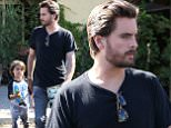 Scott Disick bonds with Mason on Father's Day taking his oldest son to Rosti for lunch and looks like he bought him a Lego  June 21, 2015 X17online.com