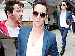21.JUNE.2015 - LONDON - UK **EXCLUSIVE ALLROUND PICTURES** IRISH ACTOR JONATHAN RHYS-MEYERS PICTURED LOOKING DAPPER IN HIS NAVY BLU SUIT AND DR MARTENS BOOTS WHILE PICTURED LEAVING TRENDY SCOTTS RESTAURANT IN CENTRAL LONDON. BYLINE MUST READ : XPOSUREPHOTOS.COM ***UK CLIENTS - PICTURES CONTAINING CHILDREN PLEASE PIXELATE FACE PRIOR TO PUBLICATION *** **UK CLIENTS MUST CALL PRIOR TO TV OR ONLINE USAGE PLEASE TELEPHONE 0208 344 2007**