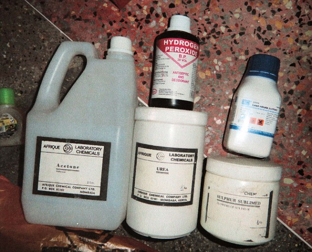 Explosive: Chemicals for bomb making were found during a raid in the Bakarani region of Mombasa in Kenya