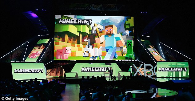 "Mojang's ""Director of Fun"" Lydia Winters speaks about 'Minecraft' during the Microsoft Xbox E3 press conference at the Galen Center on June 15, 2015 in Los Angeles, California."
