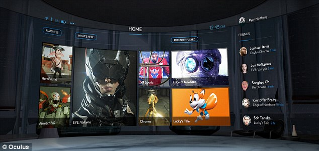 The new Oculus Home, which users will see when they first put the headset on