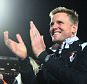 BOURNEMOUTH, ENGLAND - APRIL 27:  Eddie Howe manager of Bournemouth celebrates victory on the pitch after the Sky Bet Championship match between AFC Bournemouth and Bolton Wanderers at Goldsands Stadium on April 27, 2015 in Bournemouth, England.  (Photo by Charlie Crowhurst/Getty Images)