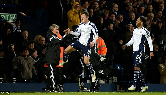 Craig Gardner ran to high-five his manager after scoring the only goal of the game at The Hawthorns
