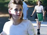139173, EXCLUSIVE: Kristen Stewart seen during a photo shoot in LA. The 'Twilight' actress wore a black and green skirt, a white top, and platform shoes for the shoot. Los Angeles, California - Wednesday June 24, 2015. Photograph: Juan Sharma/Bruja, © PacificCoastNews. Los Angeles Office: +1 310.822.0419 sales@pacificcoastnews.com FEE MUST BE AGREED PRIOR TO USAGE